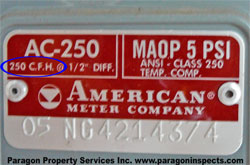 Gas meter label - Paragon Home Inspections Chicago Buffalo Grove Des Plaines Evanston Glenview Highland Park Morton Grove Mount Prospect Niles Northbrook Park Ridge Skokie Wheeling Wilmette Winnetka  Ill
