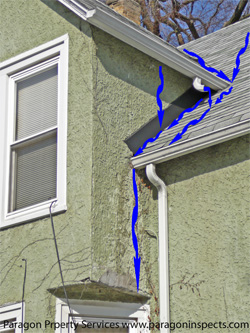 Damage caused by a missing kickout flashing at stucco bay, wide view - Paragon Home Inspections Chicago Buffalo Grove Des Plaines Evanston Glenview Highland Park Morton Grove Mount Prospect Niles Northbrook Park Ridge Skokie Wheeling Wilmette Winnetka  Ill